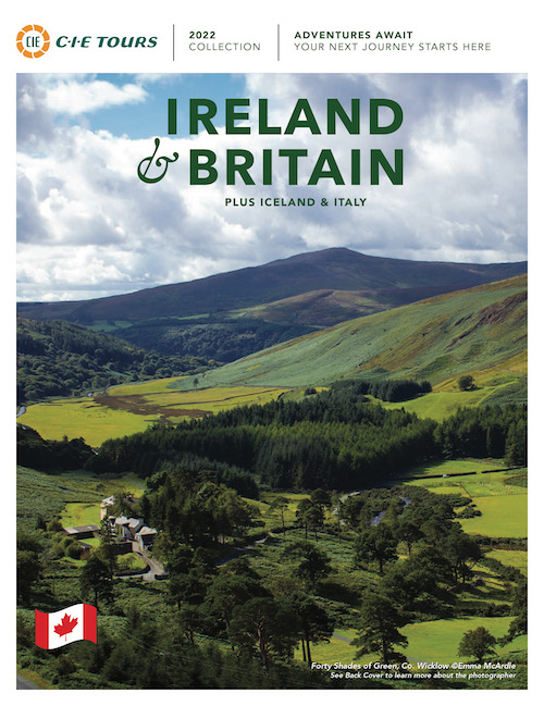 A brochure titled Ireland and Britain showing a picture of a green valley