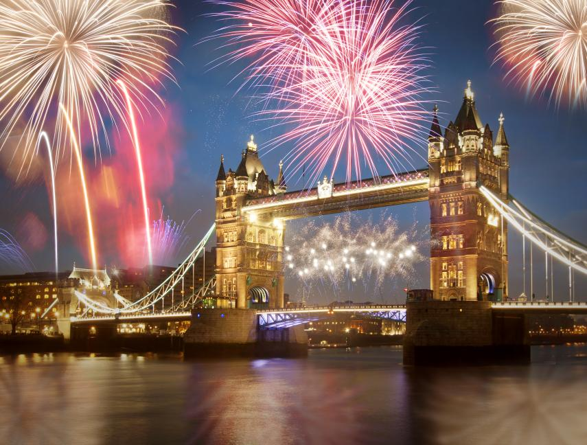 Tower Bridge with fireworks, in London