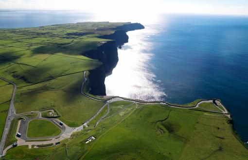 Aerial view of the Cliffs of Moher in Ireland