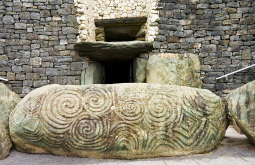 Carved stone at Newgrange and Knowth in Ireland