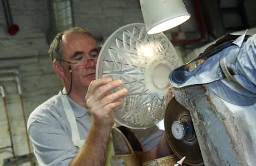 Man creating crystal at House of Waterford Crystal